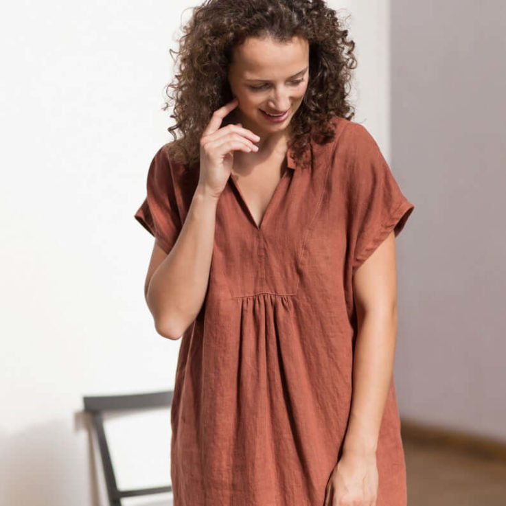 Linen dress V neck linen dress Pure linen dress Washed linen dress