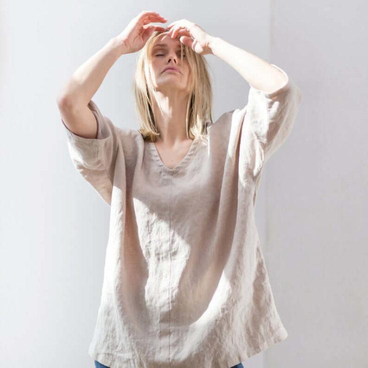 Linen shirt Linen kimono shirt Linen blouse Linen top Summer linen top