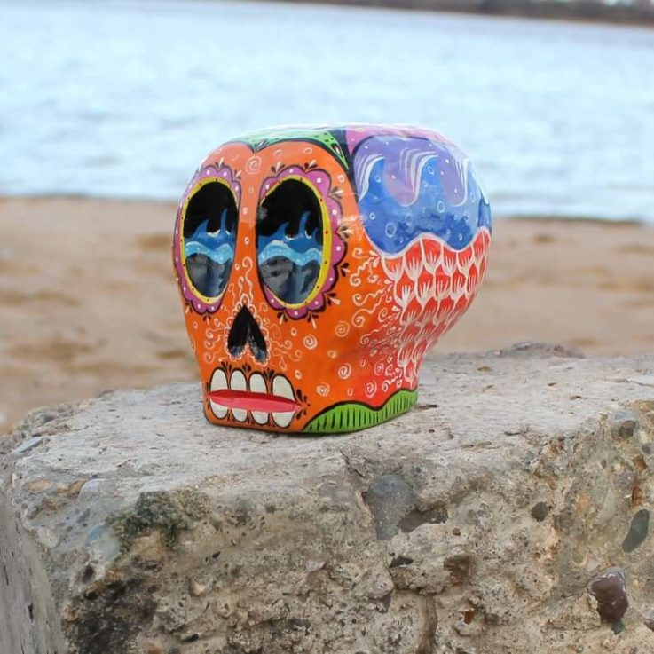 Mexican skull, wood carving, orange skull, hand painted dia de los Muertos skull