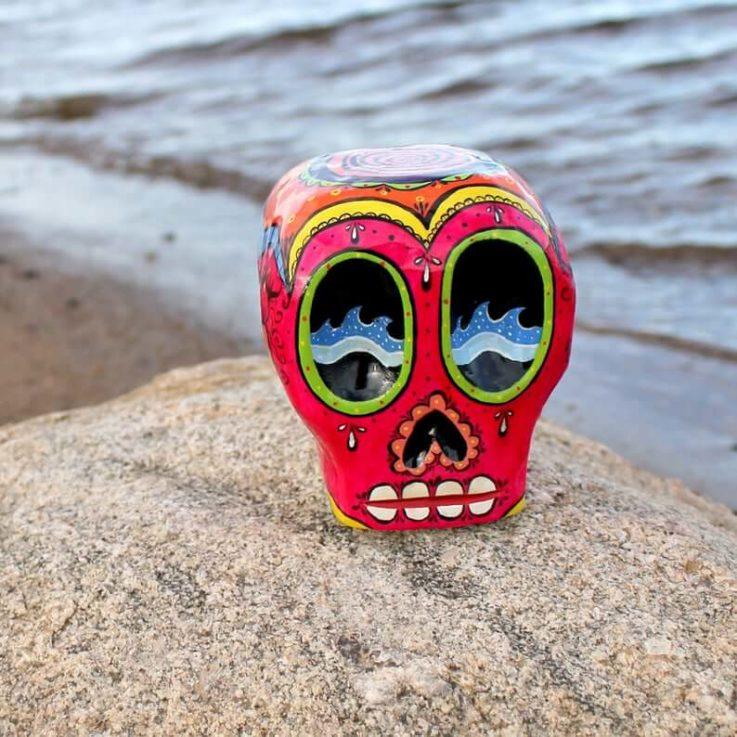 Mexican skull, wood carving, pink color skull, hand painted dia de los Muertos skull