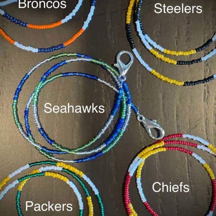 NFL Beaded Mask Lanyard Chain Necklace, Large Clasps, Steelers, Patriots, Chiefs, Packers, Cowboys, Eagles, 49ers, Raiders, Broncos