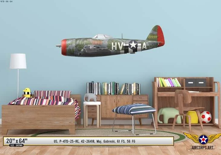 P-47D Thunderbolt GabbyGabreski Airplane Profile Wall Art - Plane Decal WWII Boys Nursery Room Pilot Gift Aircraft Print Decor