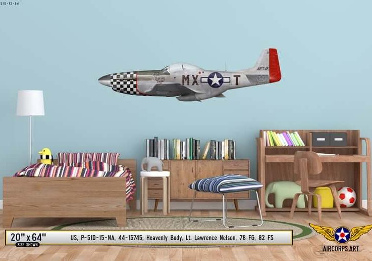 P-51D Mustang Heavenly Body Airplane Profile Wall Art - P51 Plane Decal WWII Boys Nursery Room Pilot Gift Aircraft Print Decor
