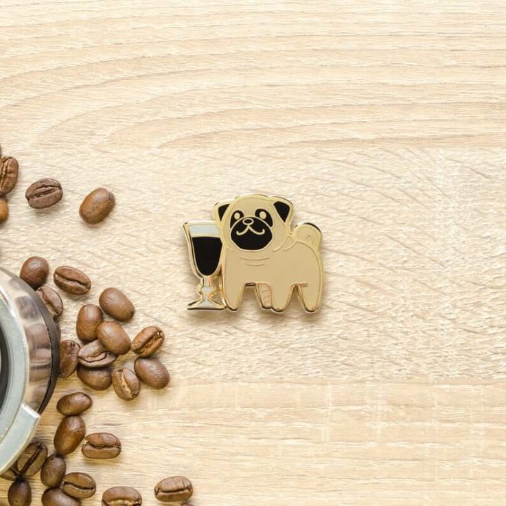 Pug Irish Coffee Hard Enamel Pin Espresso, Dog, Puppy, Whisky, Cocktail, Cute