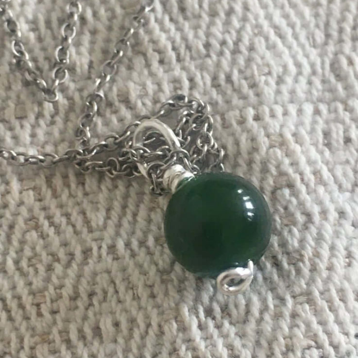 Qinghai Jade EcoSilver Pendant on a Recycled Sterling Silver Necklace