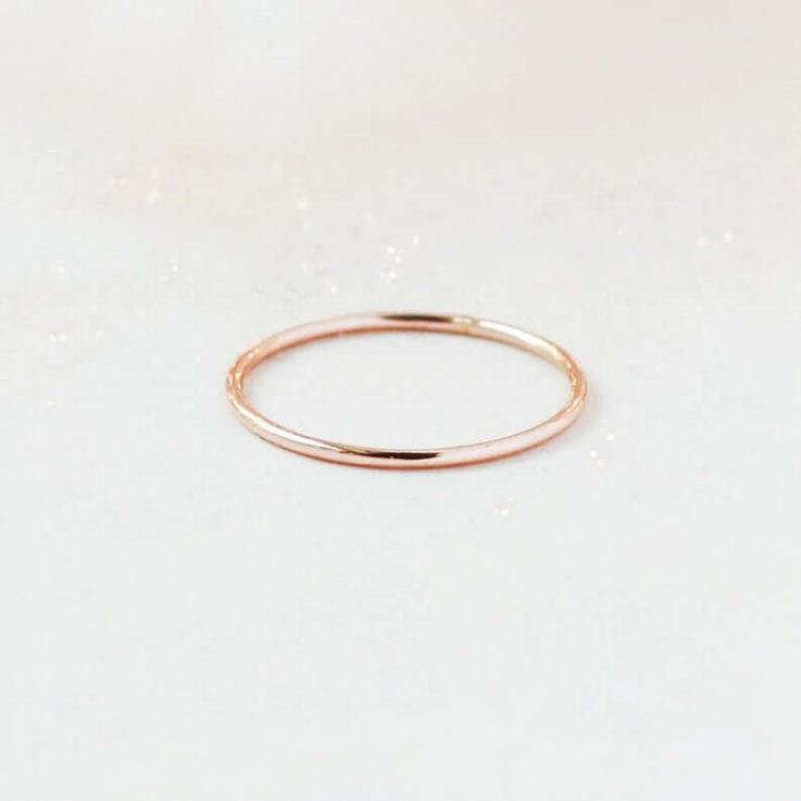 ROSE stacking ring. smooth 14k rose gold filled band. ONE. 1420 rose gold fill thin stackable ring. skinny stack ring. wedding band for her