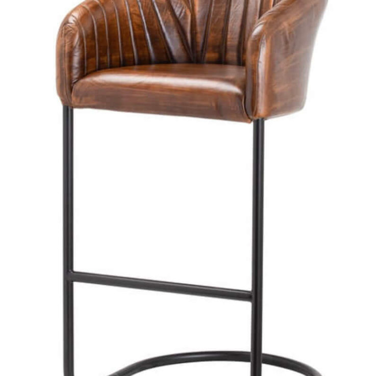 Real Leather Retro Style Bar Chair
