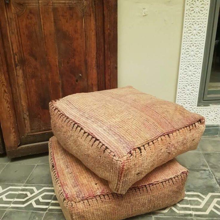Set of 2x Kilim Moroccan pouf, Moroccan interior pouf, living room pouf, rug pouf, large pillow cushion, square floor cushion, floor pouf.