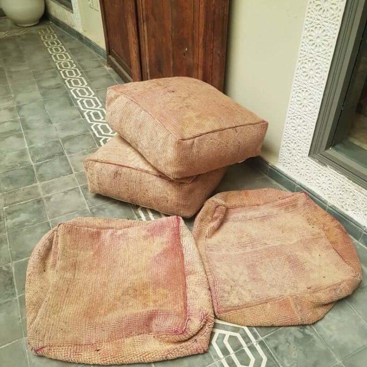 Set of 4X Moroccan kilim poufs, Carpet pouf, floor pouf, kilim pouf, recycled rug, square pouf, vintage carpet pouf.