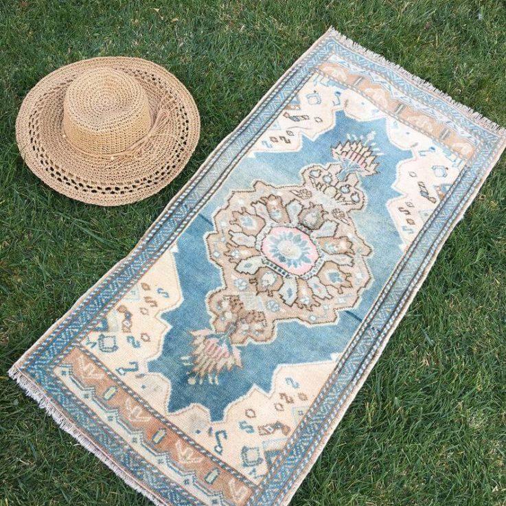 Small Turkish Rug Brown, Blue, Beige, Cream, brown, Pink, Wool. , Jansel VD-1008, Tiny Vintage Rug, Entryway Doormat, Bathroom Mat