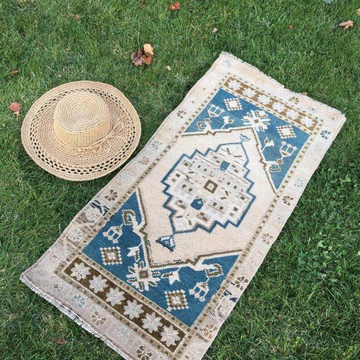 Small Turkish Rug Taupe, Cream, Brown, Blue Wool on Wool Raha AD-1138, Tiny Vintage Rug, Entryway Rug, Doormat, Bathroom Mat