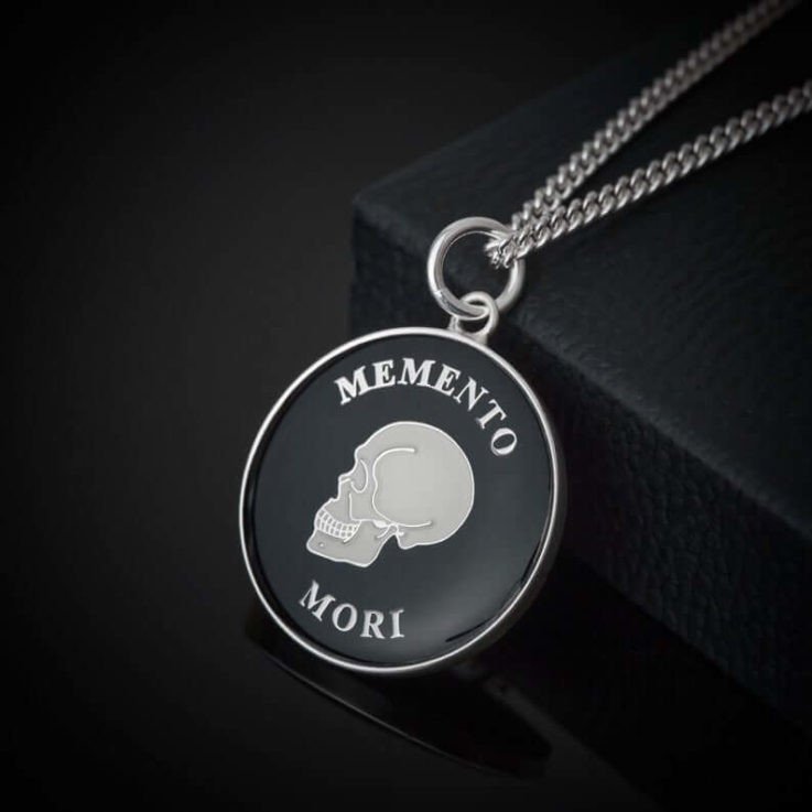Stoic Memento Mori Silver Plated and Enamelled in Black Pendant Necklace