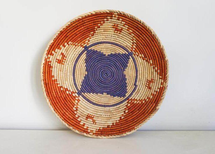 Traditional Pakistan basket. Palm leaf dish. Handmade fruitmaker