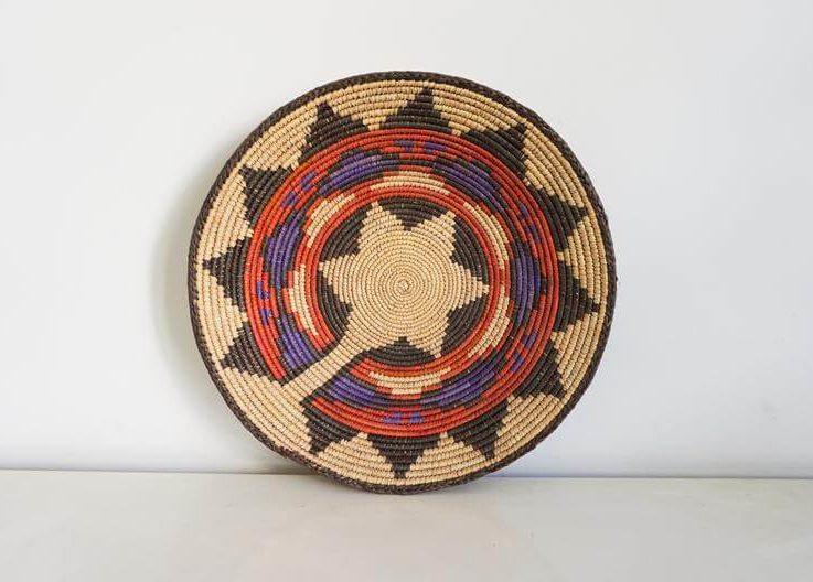 Traditional Pakistan basket. Palm leaf dish. Handmade fruitmaker2