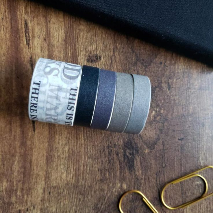 Washi Tape Set - 5 Rolls Blue and Gray Washi Tape for Journaling, Planner, Scrapbook, Paper Craft